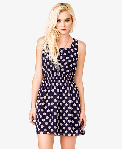 FOREVER 21 Smocked Polka Dot Dress