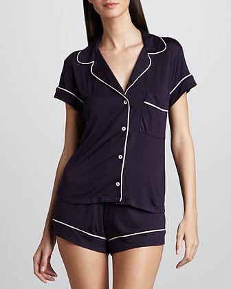 Eberjey Gisele Short Pajamas, Eggplant/Pink