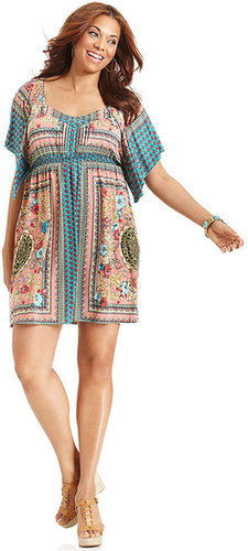 Style&co. Plus Size Dress, Short-Sleeve Printed Empire