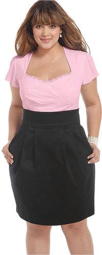 Trixxi Plus Size Dress, Short Sleeve Gathered Pleated