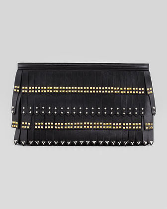 Prada Large Stud-Fringe Zip Clutch Bag, Black