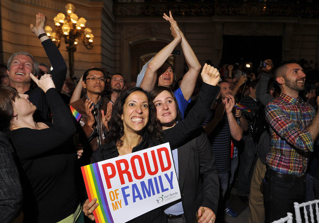 SF City Hall was filled with gay rights activists after the US Supreme Court's ruling on gay marriage.