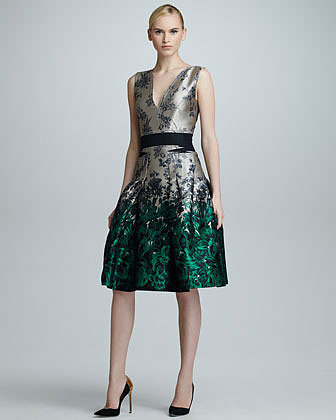 Carolina Herrera Ombre Floral Jacquard Dress, Star/Green
