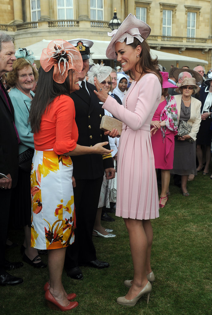 Kate Middleton went for a pink ensemble at the May 2012 garden party at Buckingham Palace.