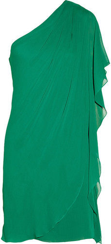Badgley Mischka Draped textured-chiffon dress