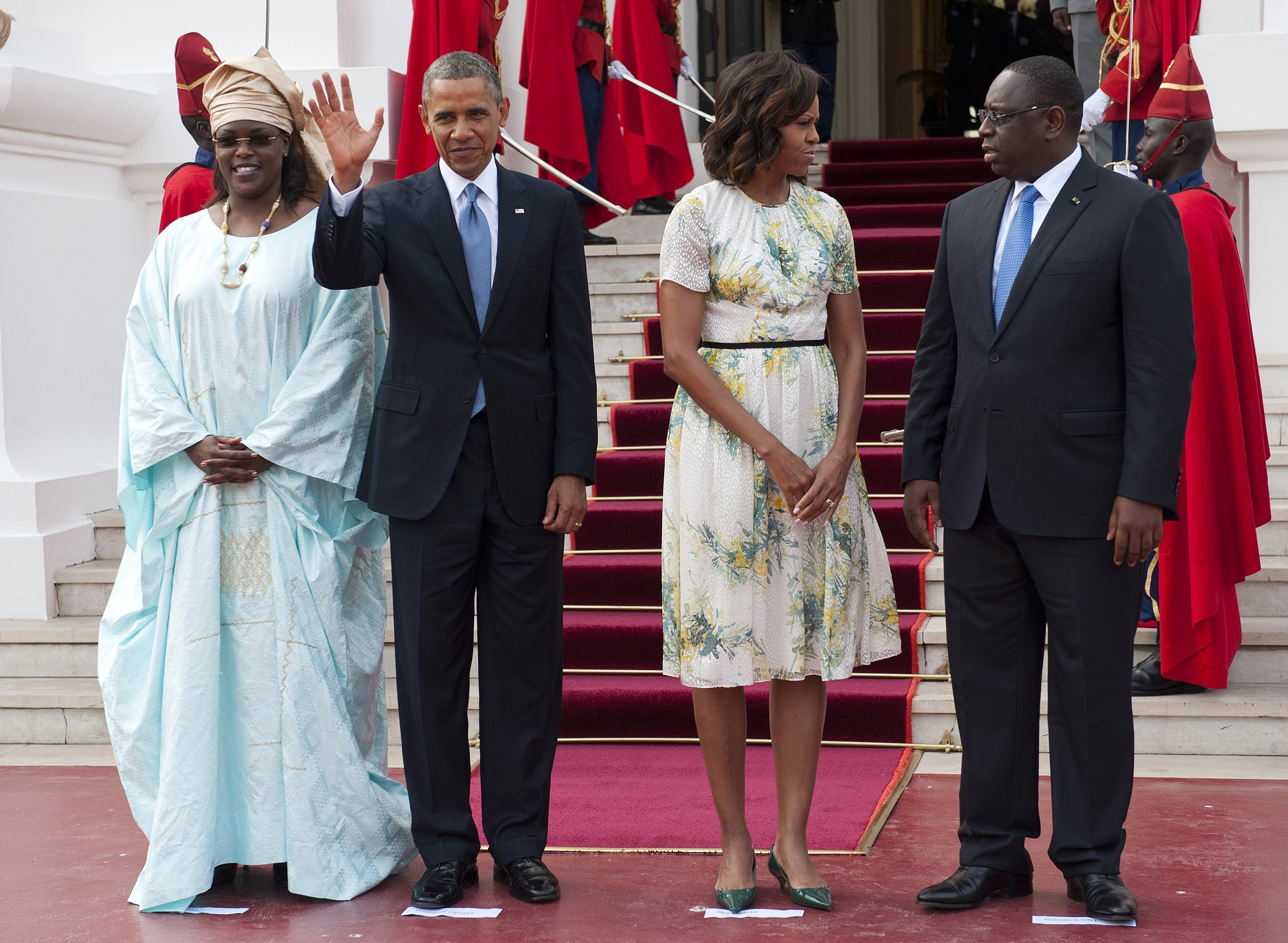 The first lady was a breath of fresh air in a retro floral dress and green kitten pumps as she and President Obama were greeted by Senegal's President at the Presidential Palace in Dakar.