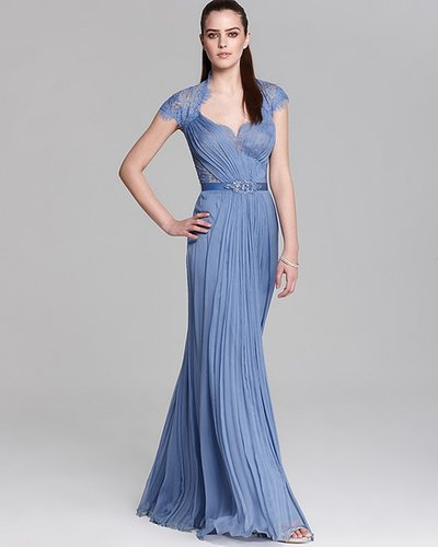 Tadashi Shoji Lace Gown - Cap Sleeve Belted