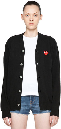 Comme Des Garcons PLAY Red Heart Emblem Cardigan in Black