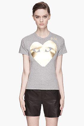 COMME DES GARÇONS PLAY Gold Foil Print T-Shirt