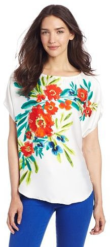 Chaus Women's Cap Sleeve Tropic Flower Embellished Blouse