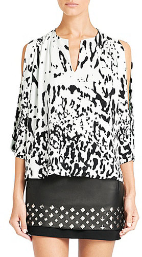 Astor  Silk Blouse In Paint Marks Mint