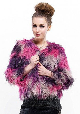 Cheap quality fashion purple with fuchsia quality faux wool fur short coat online free shipping