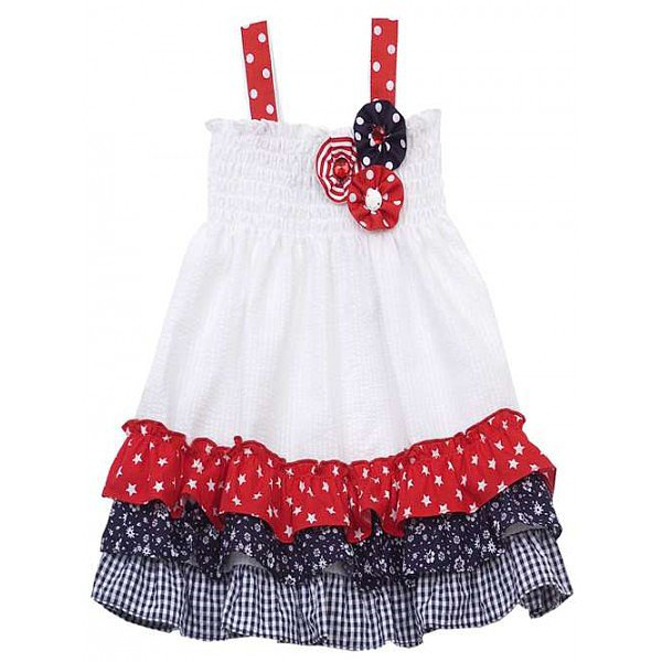 The flower appliqués, polka-dot straps, tiered ruffles — there's so much to love about this Rare Editions Fourth of July dress ($17).