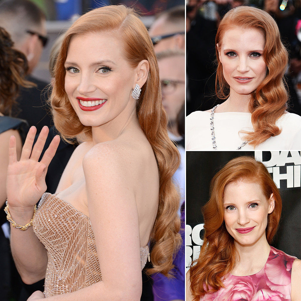 Who: Jessica Chastain The look: Vintage waves While on the award season circuit, it became apparent that Jessica was playing favorites when it came to styling her crimson locks. A deep side part paired with vintage waves always looked immaculate on her, and always made us nostalgic for the days of Old Hollywood.