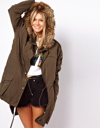 ASOS Casual Parka with Fur Hood and Quilted Lining