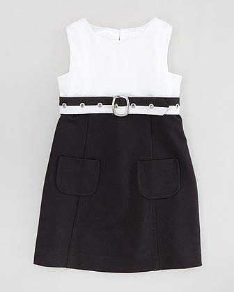 Milly Minis Cece Combo Belted Dress, White/Black, Sizes 2-6