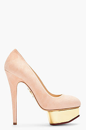 CHARLOTTE OLYMPIA Blush Suede & Gold Dolly Pumps