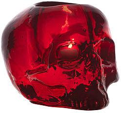 """Kosta Boda Red """"Still Life"""" Skull Candleholder"""