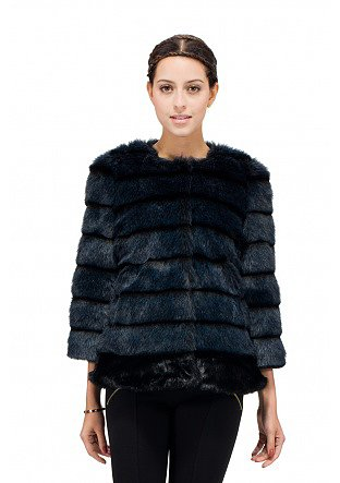sleeve faux bule and black mink fur coat