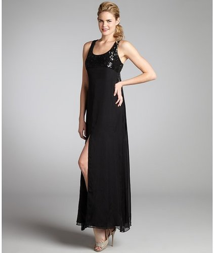 A.B.S. by Allen Schwartz black silk chiffon cutout back sequin maxi dress
