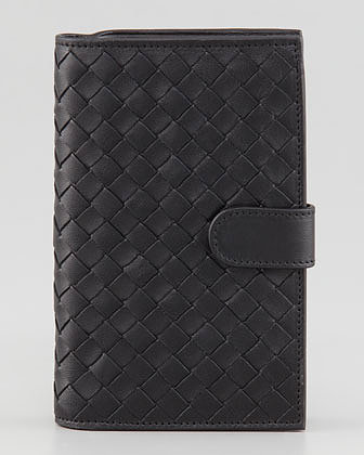 Bottega Veneta Woven Continental Fold Wallet, Black