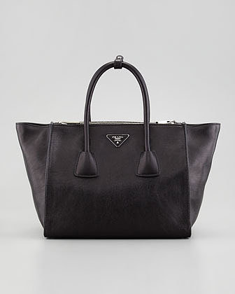 Prada Glace Calf Twin Pocket Tote Bag, Black
