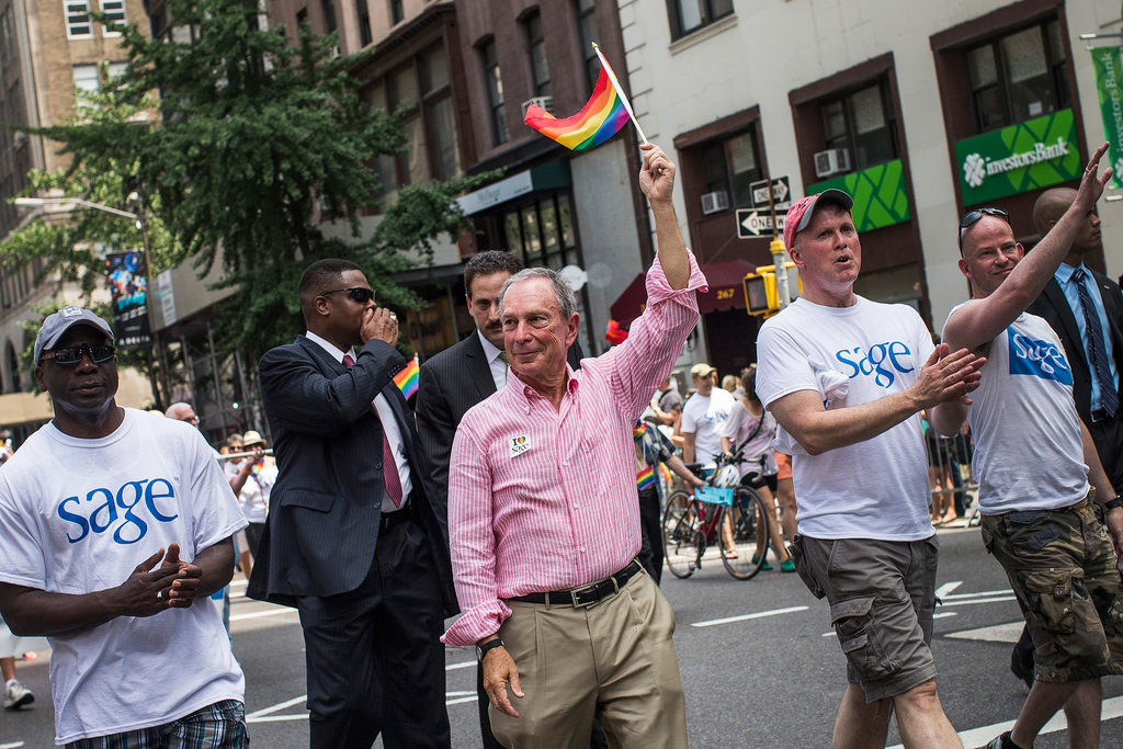 Mayor Michael Bloomberg waved a flag during the NYC Gay Pride Parade.