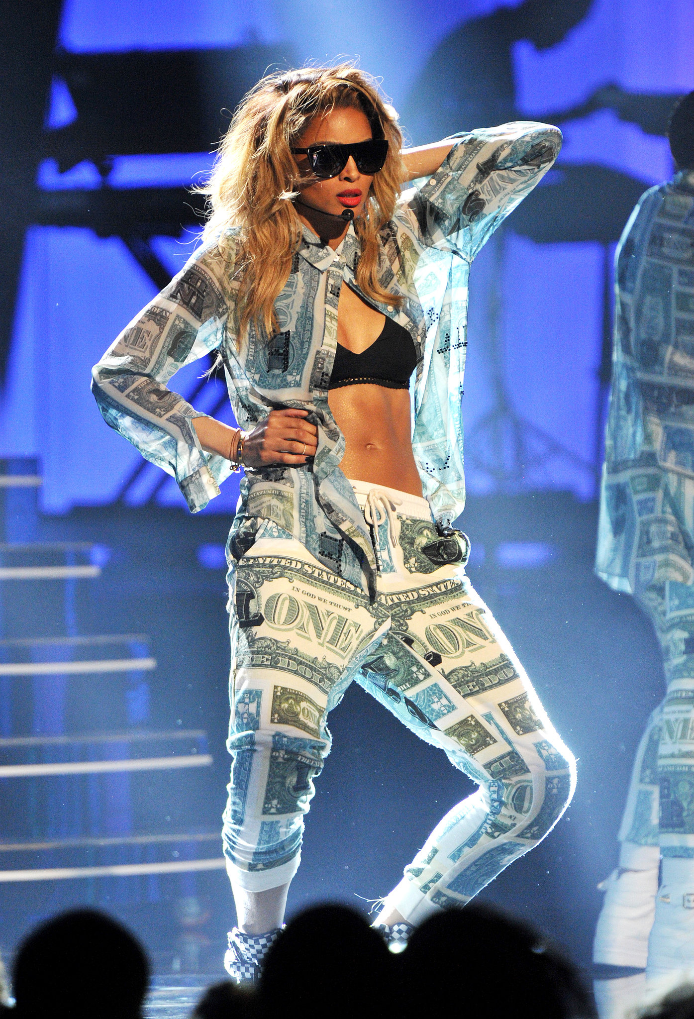 Ciara bared her stomach while performing.