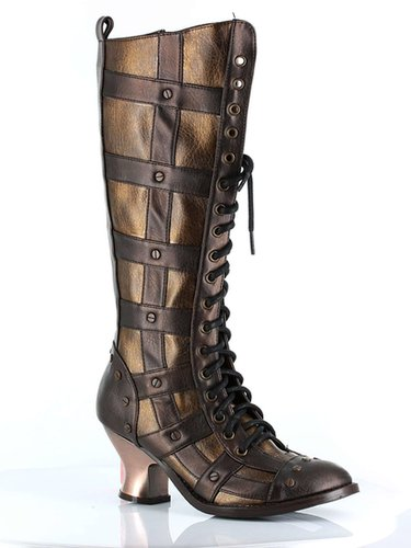 """Hades Shoes H-Dome, 2.5"""" Lace-up Retro Knee Boot:Satin-Boutique.com"""