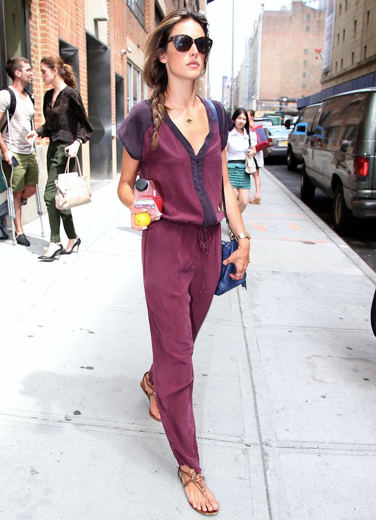 Alessandra Ambrosio rocked a colour-block jumpsuit by Gypsy05 with a blue bag while out in NYC.