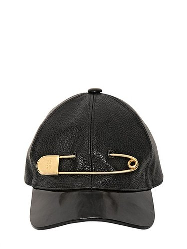 Maxi Logo Pin Leather Baseball Cap