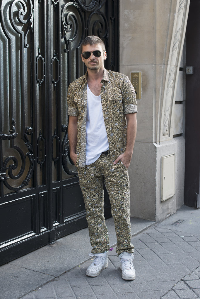 A fresh take on the suit? Matching printed pieces, worn open over a plain white tee.