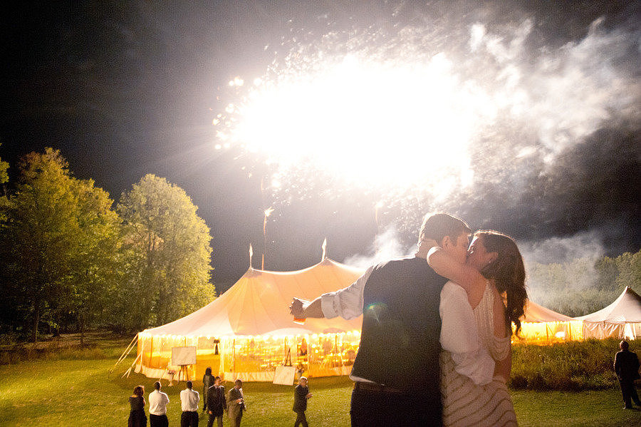 This country wedding lit up the skies of Door County, Wisconsin, with its bright fireworks. Photo by Emily Steffen via Style Me Pretty