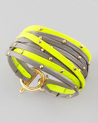 Gorjana Graham Leather Wrap Bracelet, Yellow/Gray