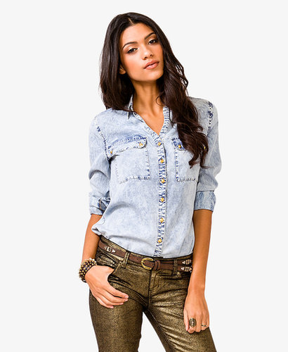 FOREVER 21 Mineral Wash Studded Shirt