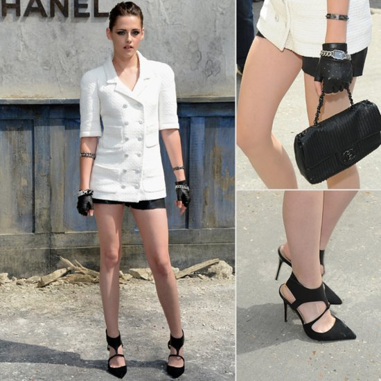 Kristen Stewart In Chanel White Jacket, Shorts: Fashion Week