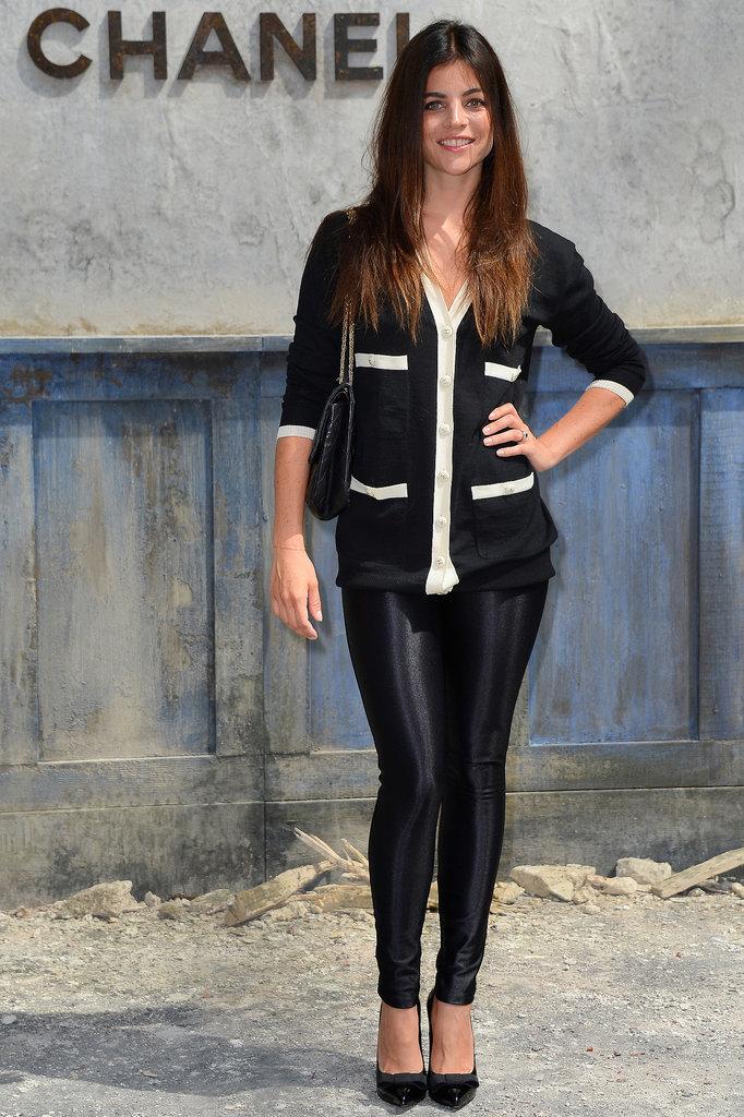 Julia Restoin Roitfeld's skinny black leggings and black and white cardigan felt right on the money at the Chanel show.