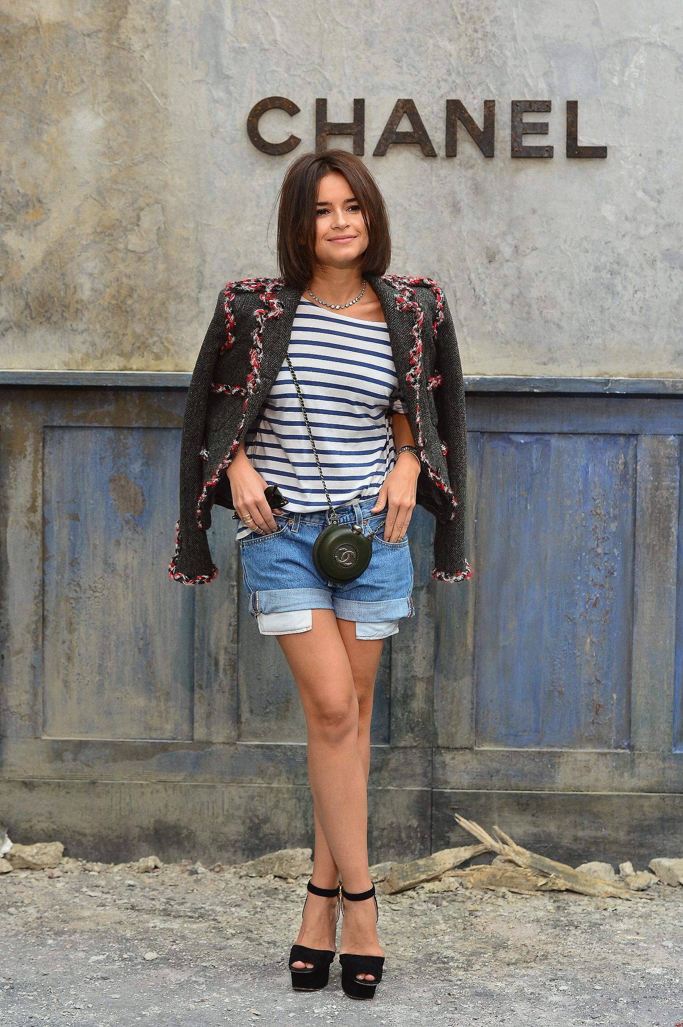 Miroslava Duma gave denim shorts a high-fashion take at the Paris Chanel Haute Couture runway show.