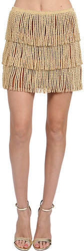 THAYER Fringe Mini Skirt in Gold