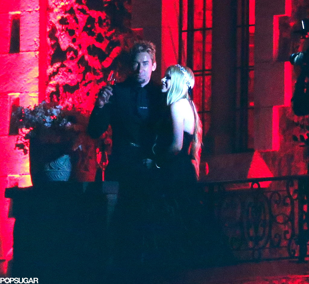 Avril Lavigne wore a black strapless gown for her wedding to Chad Kroeger.