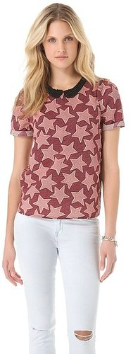 Maison scotch Print Silky Blouse with Contrast Collar
