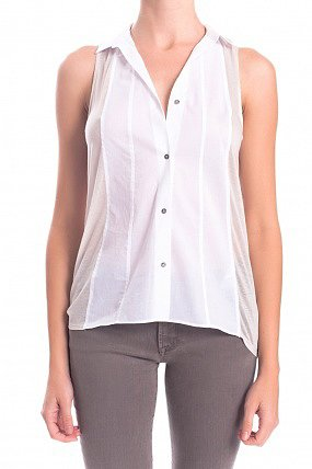 HELMUT Peplin Sleeveless Button Down Top White