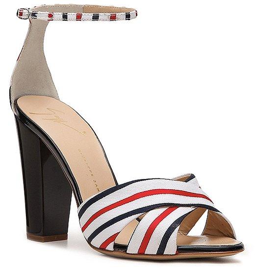 Giuseppe Zanotti Printed Fabric Peep Toe Sandal