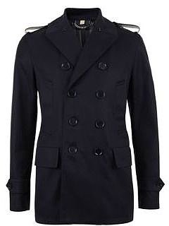 Burberry London BURBERRY LONDON Pevril Leather Epaulette Peacoat