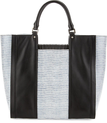 Pour la Victoire Morandi Lizard-Embossed Tote Bag, Black
