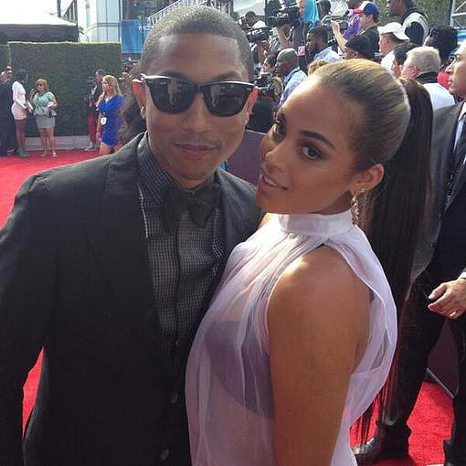 Pharrell posed with Lauren London at the BET Awards. Source: Twitter user Cappadonna
