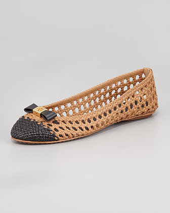 Tory Burch Carlyle Woven Leather Ballerina Flat, Sand/Black
