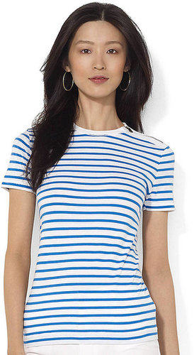 LAUREN JEANS CO. Zippered Striped Crewneck T-Shirt