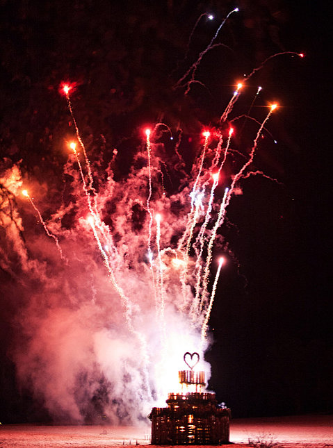 This 30-foot wedding-cake-shaped fireworks bonfire stole the show at a wedding near North Wales. Photo by Nick Tucker via Snippet and Ink