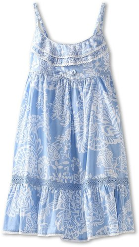 United Colors of Benetton Kids - Floral Woven Tank Dress (Toddler/Little Kids/Big Kids) (Light Blue/White) - Apparel